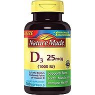 Nature Made Vitamin D3 1000 IU Softgels, 300 Ct