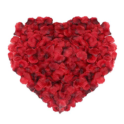(Naler 2000 Pieces Artificial Flowers Silk Rose Petals for Christmas Home Party Wedding Decoration Vase Confetti Table Scatter, Dark Red)