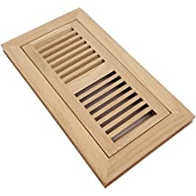 Homewell Red Oak Wood Floor Register Vent, Flush Mount With Frame, 4x10 Inch, Unfinished