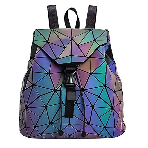 Geometric Backpack Fashion Luminous Backpacks Holographic Reflective Shoulder Bag Shard Lattice Luminous Rucksack Lingge for Women and -