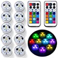 """10x Underwater LED Tea Lights, Submersible RGB Multicolor Waterproof 1.5"""" Flameless Candles Battery Powered with Remote Control for Vase Bowl Lantern Pond Pool"""