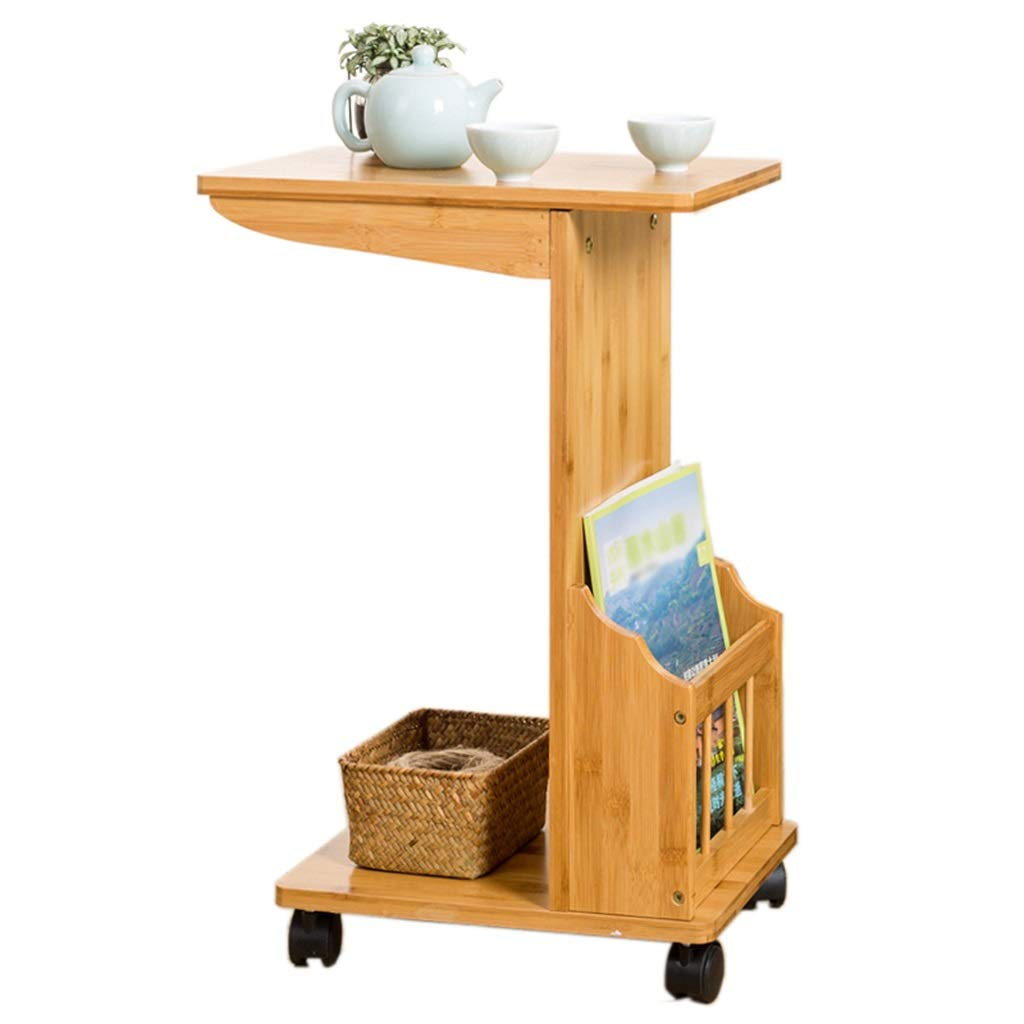 ZDNALS Bedside Table Movable Sofa Side Cabinet Corner Small Coffee Table Bamboo Living Room Simple Tea Rack Bed Small Table Side Table Bedside Table