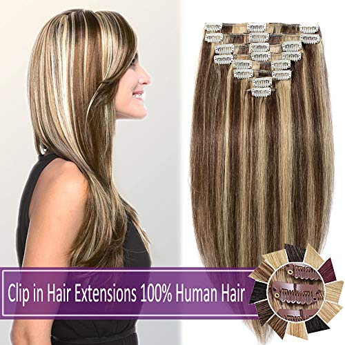 100% Human Hair Clip in Hair Extensions Highlight 70-120g Long Straight Remy Hair Clip in Extensions 8 Pieces 18 Clips Thick Soft Silky 16