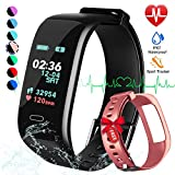 Fitness Tracker, Color Screen Activity Tracker Watch with Blood Pressure Blood Oxygen, IP67 Waterproof Smart Band with Heart Rate Sleep Monitor Calorie Counter Pedometer for Men, Women and Kids