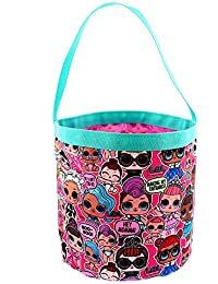 Girls Collapsible Nylon Beach Bucket Toy Storage Gift Tote Bag (One Size, Pink)