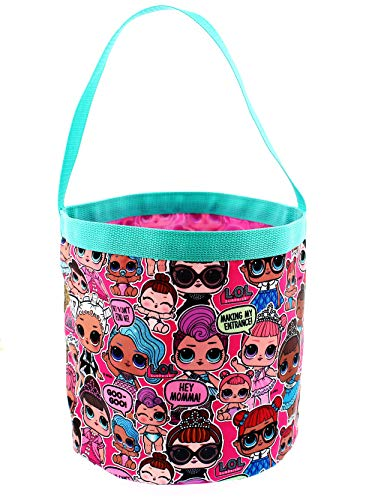Girls Easter Baskets (L.O.L. Surprise! Girls Collapsible Nylon Halloween Bucket Toy Storage Gift Tote Bag (One Size,)