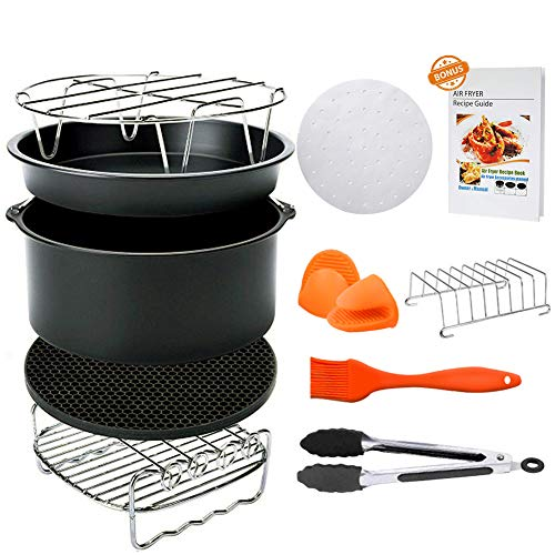 8 inch Air Fryer Accessories, Blusmart 11 pcs Deep Fryer Accessories Set for GoWISE Phillips COSORI Ninja Air Fryer 4.2 QT – 5.8 QT, FDA Approved, BPA Free,Cookbook Included