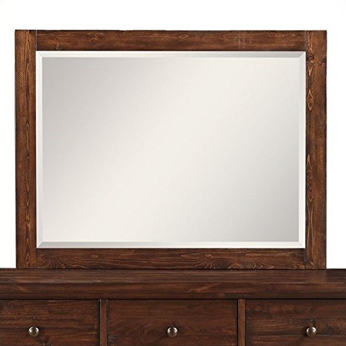 Landscape Beveled Dresser Mirror - Modus Furniture 9CR183 Cally Solid Wood Mirror, Antique Mocha