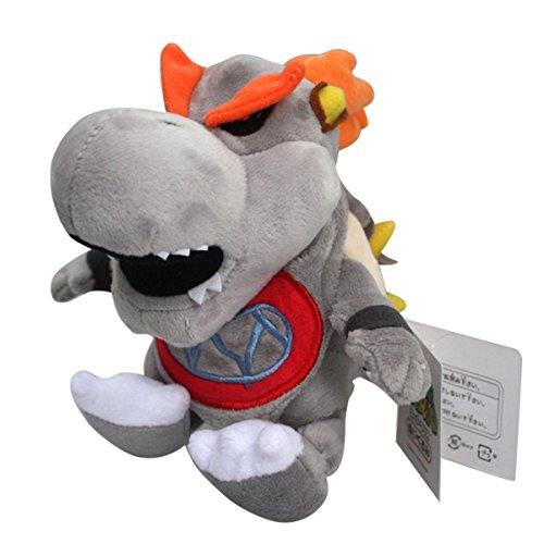 Baby Dry Bowser Bones Koopa Super Mario Bros Plush Toy Stuffed Animal Grey with a Free Badge As Gift - Bowser Dry Bones