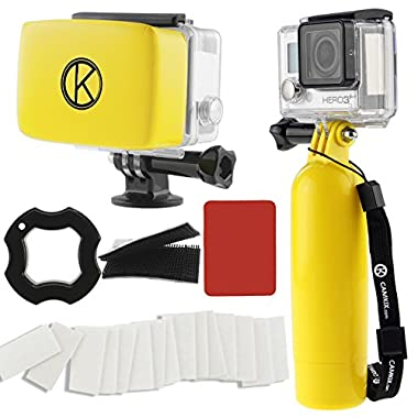 CamKix Accessory Bundle for Gopro Hero 4, Black, Silver, Hero+ LCD, 3+, 3, 2, 1 including Floating Hand Grip / Floater/ Anti-Fog(Yellow)