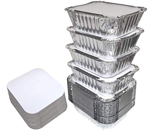 55 PACK - 1LB Aluminum Foil Pan Containers with Lids Take Out Pans Food Containers Disposable Easy Pack From Spare - 1Lb Capacity 5.5