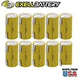 10x Exell D Size 1.2V 5000mAh NiCD Rechargeable Batteries with Tabs for meters, radios, hybrid automobiles, high power static applications (Telecoms, UPS and Smart grid), radio controlled devices