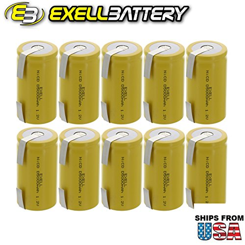 10x Exell D Size 1.2V 5000mAh NiCD Rechargeable Batteries with Tabs for meters, radios, hybrid automobiles, high power static applications (Telecoms, UPS and Smart grid), radio controlled devices by Exell Battery