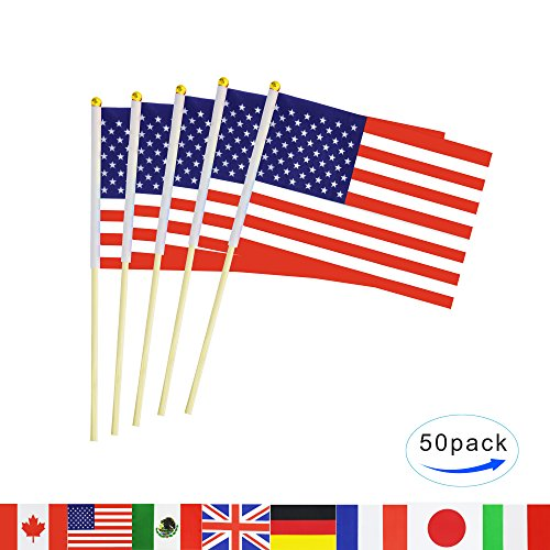 USA Stick Flag,50 Pack Hand Held Small US American Nations Flag With Wood Pole Mini International Countries World Flags Banner On Sticks,Party Decorations For Parades,4th Of July,School Sport Events (Flag Stick Usa)