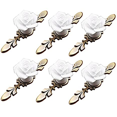 IdealDecor 6PCS Vintage Floral Rose Shape Ceramic Door Knobs/Pull/Handle for Kitchen Cabinet Drawer Cupboard Chest , Vintage Dresser, Wardrobe & Baby Kid's Children's Furniture Decor with Brass Base