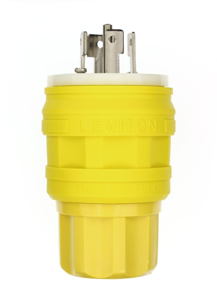 Leviton 28W81 30 Amp, 120/208 Volt, 3 Phase Y, Locking Plug, Industrial Grade, Grounding, Wetguard, Yellow