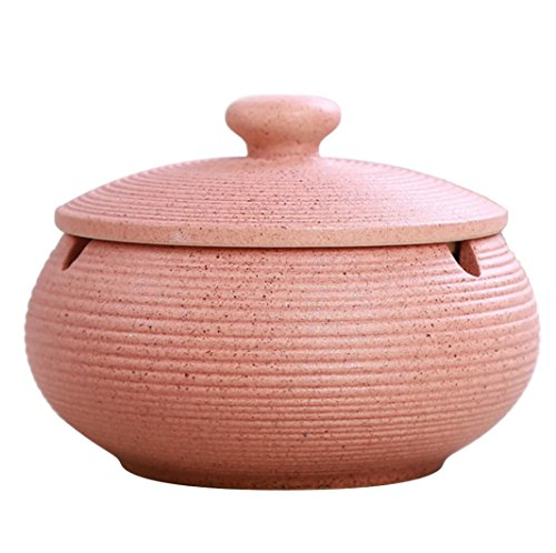 Pink Small Ashtray - Hoobar Ceramic Ashtray with Lids,Windproof Cigarette Ashtray for Indoor Use, Ash Holder for Smokers, Desktop Smoking Ash Tray for Home Office Decoration (Pink)
