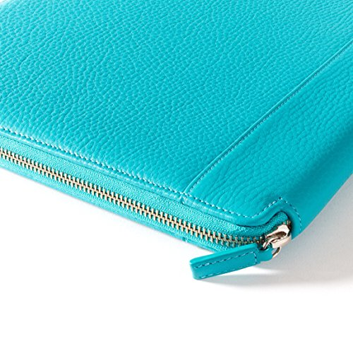 Leatherology Left Handed Executive Zippered Portfolio - Full Grain Leather Leather - Teal (Blue) by Leatherology (Image #2)