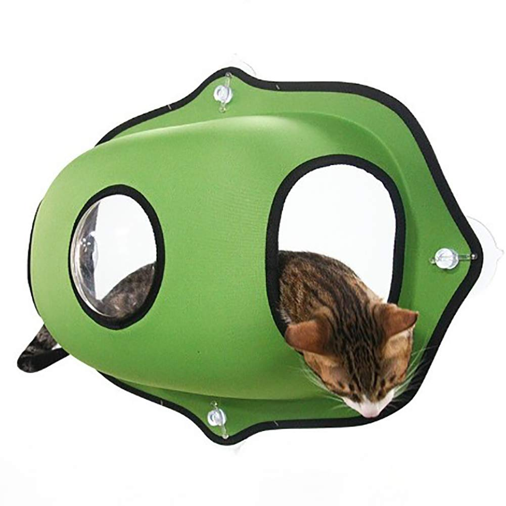 Cat Hammock,Space Capsule Suction Cup Wall-Mounted Cat Bed with Warming Cat Bed Mat,Green by Caige