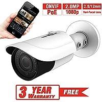 ProVisual 2 Megapixel HD IP Bullet Security Camera 2.8/12mm Varifocal Lens Night Vision 48 IR Led POE H.264 1080p ONVIF