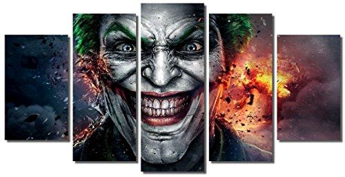 Picture Sensations Framed Canvas Art Print, Joker DC Comic Super Villain Joker Print, Joker Canvas, Batman Art, Batman Wall Canvas Art - 60''x32'' by Picture Sensations