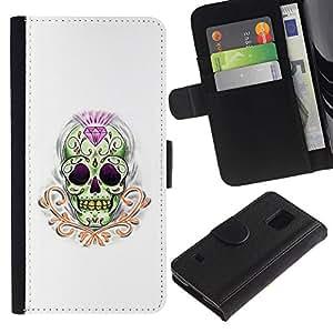 Billetera de Cuero Caso Titular de la tarjeta Carcasa Funda para Samsung Galaxy S5 V SM-G900 / Diamond Skull Treasure Gold Death / STRONG