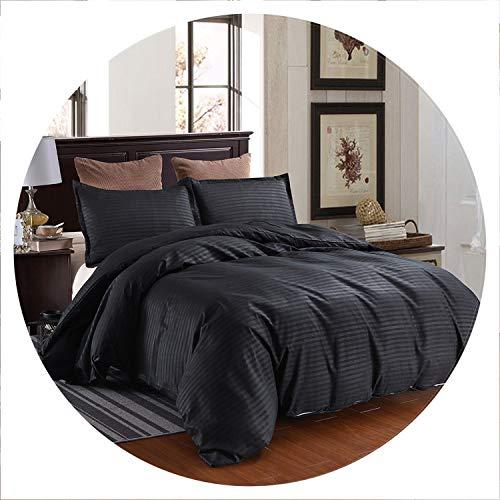- lovehouse21 Black Hotel Satin Strip Solid Color School Bedding Duvet Cover Pillowcase, 228 228 cm