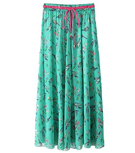 YuanDian Femme Ete Casual Plus Size Boheme Retro Littrature Et Art Style Imprimee Fleur Mousseline Grand Swing Jupe Longue Cordelette Taille Elastique Fluides Mince Maxi Jupes Vert Oiseau Fleurs