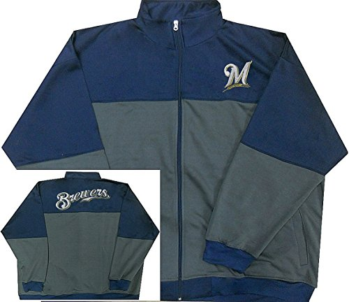 Majestic Milwaukee Brewers MLB Mens 2-Tone Track Jacket Navy Blue Big & Tall Sizes (5XL)