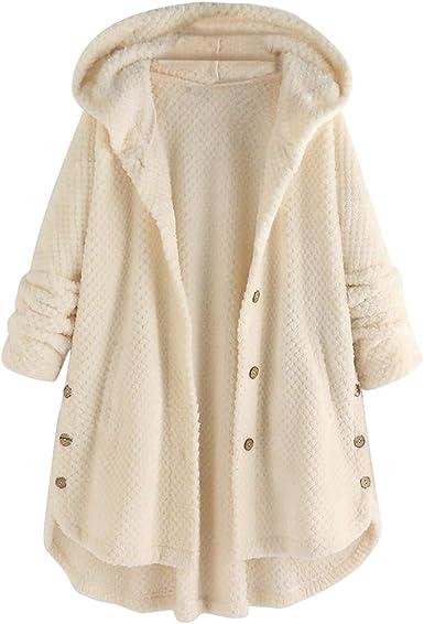 Manteau Femme Fourrure Grand Taille avec Capuche Hiver Chaud