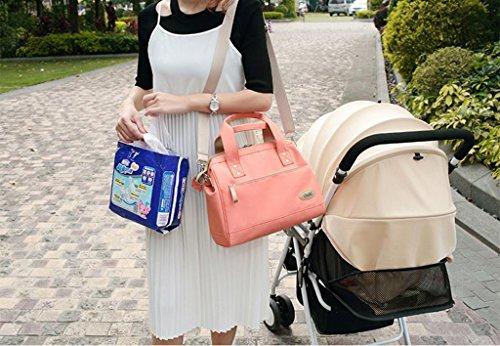 Bolsa para pañales Mochila Resistente al agua Bolsa de cambio de pañales para bebés multifuncional de gran capacidad , pink Pink