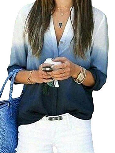 Ming ditian Popular Women's V Neck Button Slim Fashion Gradient Blouses Tops Blue - Yoox Shopping