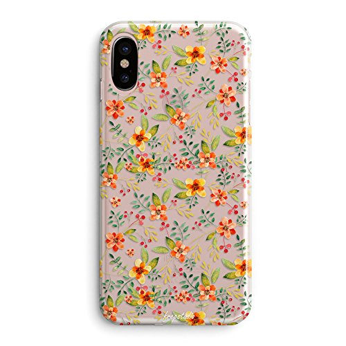 iPhone X Case,Pink Spring Colorful Tropical Floral Summer Flowers Camellia Cute Beach Hawaii Love Vintage Orange Blossom Daisy Roses Spanish Girls Women Clear Rubber Case Compatible for iPhone X/Xs