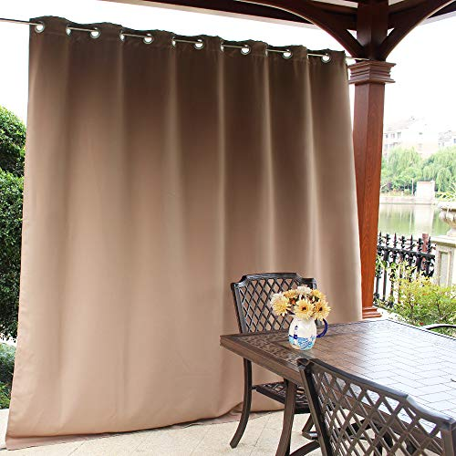 NICETOWN Outdoor Curtain Panel for Patio - Vertical Blinds Thermal Insulated Grommet Top Blackout Slider Curtain/Drape for Outside Pavilion/Lounge (Tan, Single Panel, 100 x 84-Inch) by NICETOWN (Image #2)