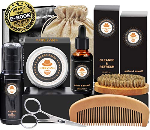 8 in 1 Free Beard Shampoo/ Wash Beard Care Growth Grooming Kit w/ Unscented Beard Oil+Beard Comb+Beard Balm+Beard Brush+Beard Scissors+Storage Bag+Gift Box (Gift For Best Friend Man)