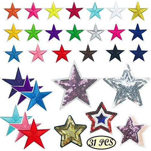 Woohome 31 PCS Assorted Star Iron on Patches Sew on Patches Embroidered Appliques for DIY Clothing Accessories ()
