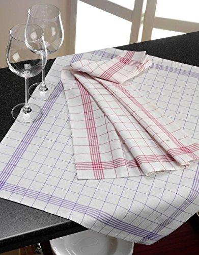 Geschirrtuch 10er Pack Küchentuch Küchenhandtuch 100% Baumwolle 50x70 cm kariert (rot-karriert)