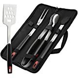 GDEALER BBQ Grill Tools Set 4 Pieces Barbecue Tool Set Grill Accessories with Spatula Tongs Fork and Silicone Basting Brush, Heavy Duty Professional Grade Stainless Steel