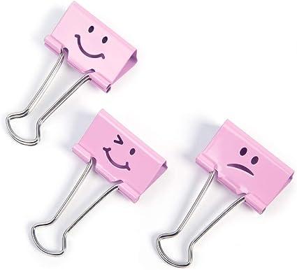 Rapesco - Caja de 20 pinzas / clips de 19mm, hasta 75 hojas en varios emojis de color rosa.: Amazon.es: Oficina y papelería