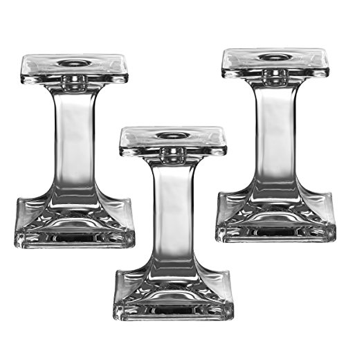Light In The Dark Set of 3 Glass Candle Stick Holders - Square Taper Candles Holder – for Candlestick, Dinner Candles, Party and Wedding Centerpieces, Table Decoration (5.5 Inch Tall)