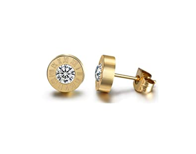 Roman Numeral Steel Stud Earrings with Swarovski Crystal Elements cIwuHB86