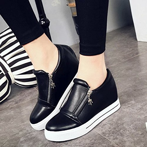KHSKX-Inside High Short Boots Female Round Head Short Tube Side Zipper Display Thin White Shoes Women'S Shoes Thirty-eight zU5FG