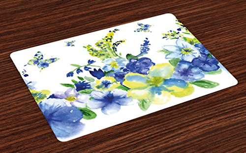 Ambesonne Yellow and Blue Place Mats Set of 4, Spring Flower Watercolor Flourishing Vibrant Blooms Design, Washable Fabric Placemats for Dining Room Kitchen Table Decor, Royal Blue