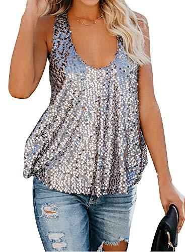 Sequin Tank Racerback - Crlsahi Sparkle Shiny Tank Tops for Women Sexy Sequin Glitter Shiny Summer Sleeveless Shirts Vest Tops Sliver L