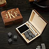 Image of Classic Monogram Whiskey Stones Set & Gift Box by HomeWetBar, 11 pc set includes 9 stones, velvet pouch, and custom gift box | Perfect for Executive Holiday Gifts or Wedding Party Gifts