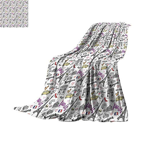 RenteriaDecor Bedroom Warm Blanket Paisley,Monochrome Flower Pattern 70