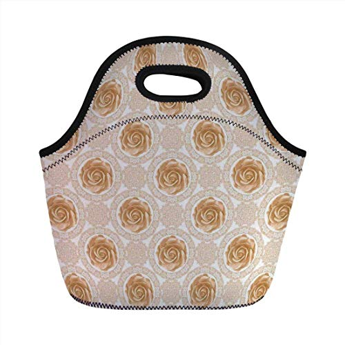 Portable Bento Lunch Bag,Flower,Vintage Rose Pattern Baroque Inspired Dated Royal Circle Ornate Motifs Print,Pale Brown White,for Kids Adult Thermal Insulated Tote Bags -