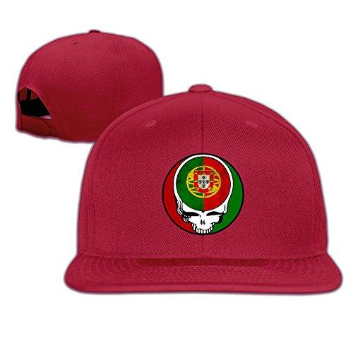 CYANY Greatful PORTUGAL Flag Logo Flat Bill Snapback Adjustable Running Cap Hat Red