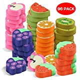 96 Novelty Mini Toy Erasers in 6 Different Cute Fruit Designs - Ideal for Xmas Bag Favors, Stockings Fillers, Pinata Stuffer, Kids Birthday Party Christmas Prizes