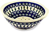 Polish Pottery 10-inch Colander (Peacock Leaves Theme) + Certificate of Authenticity